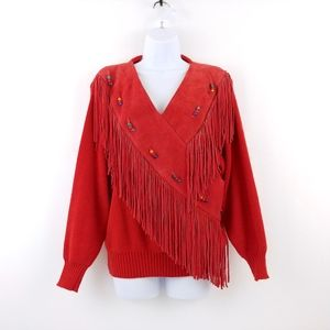 Vintage Southwest Boho Red Leather Fringed Sweater